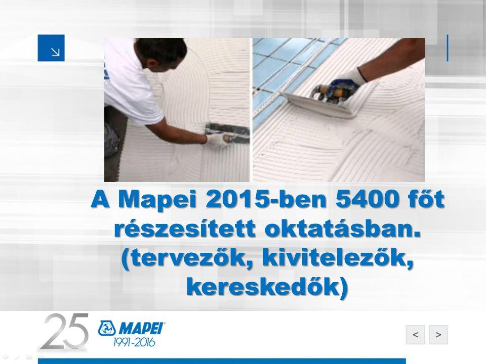 A Mapei 2015-ben 5400 főt részesített oktatásban. (tervezők, kivitelezők, kereskedők)