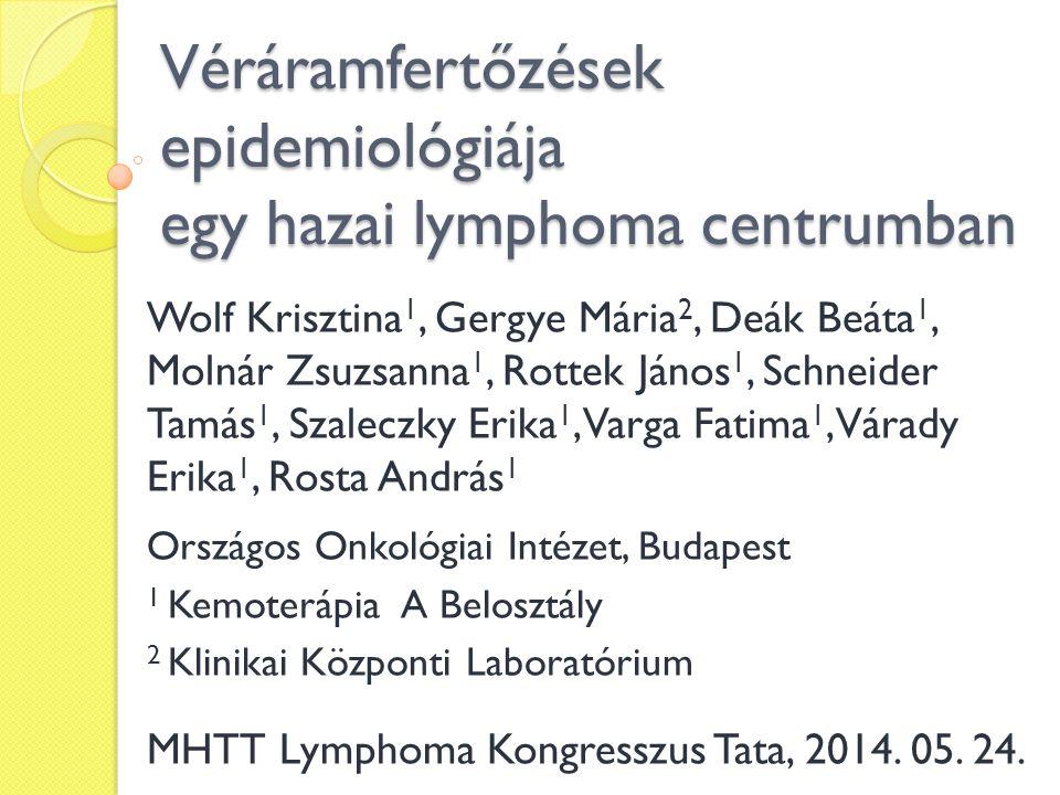 Véráramfertőzések epidemiológiája egy hazai lymphoma centrumban Wolf Krisztina 1, Gergye Mária 2, Deák Beáta 1, Molnár Zsuzsanna 1, Rottek János 1, Sc