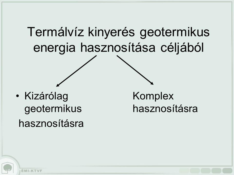 Termálvíz kinyerés geotermikus energia hasznosítása céljából KizárólagKomplex geotermikushasznosításra hasznosításra