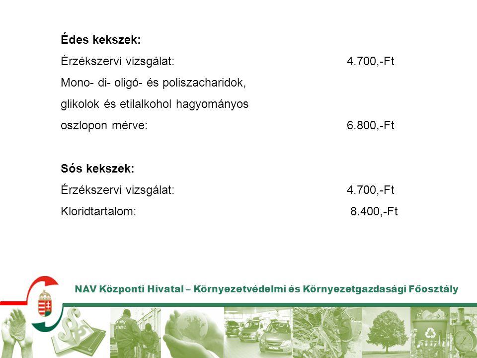 NAV Központi Hivatal – Környezetvédelmi és Környezetgazdasági Főosztály Édes kekszek: Érzékszervi vizsgálat:4.700,-Ft Mono- di- oligó- és poliszacharidok, glikolok és etilalkohol hagyományos oszlopon mérve:6.800,-Ft Sós kekszek: Érzékszervi vizsgálat:4.700,-Ft Kloridtartalom: 8.400,-Ft