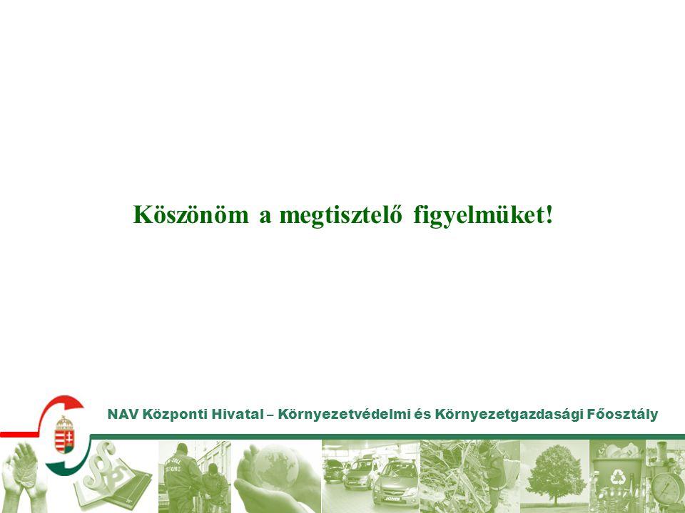 NAV Központi Hivatal – Környezetvédelmi és Környezetgazdasági Főosztály Köszönöm a megtisztelő figyelmüket!