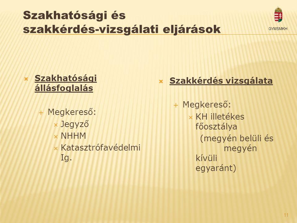 11 GYMSMKH Szakhatósági és szakkérdés-vizsgálati eljárások  Szakhatósági állásfoglalás  Megkereső:  Jegyző  NHHM  Katasztrófavédelmi Ig.  Szakké