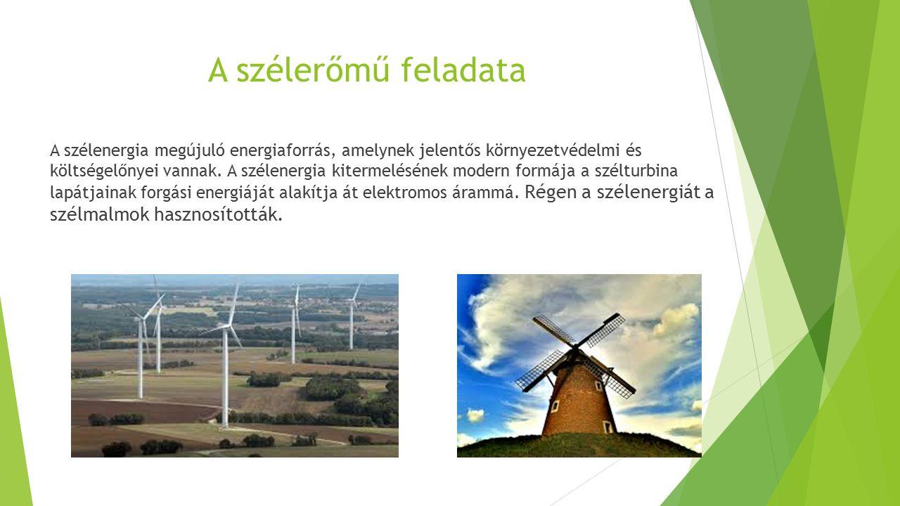 A szélerőmű feladata A szélenergia megújuló energiaforrás, amelynek jelentős környezetvédelmi és költségelőnyei vannak. A szélenergia kitermelésének m