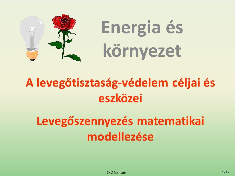1/12 © Gács Iván A levegőtisztaság-védelem céljai és eszközei Levegőszennyezés matematikai modellezése Energia és környezet
