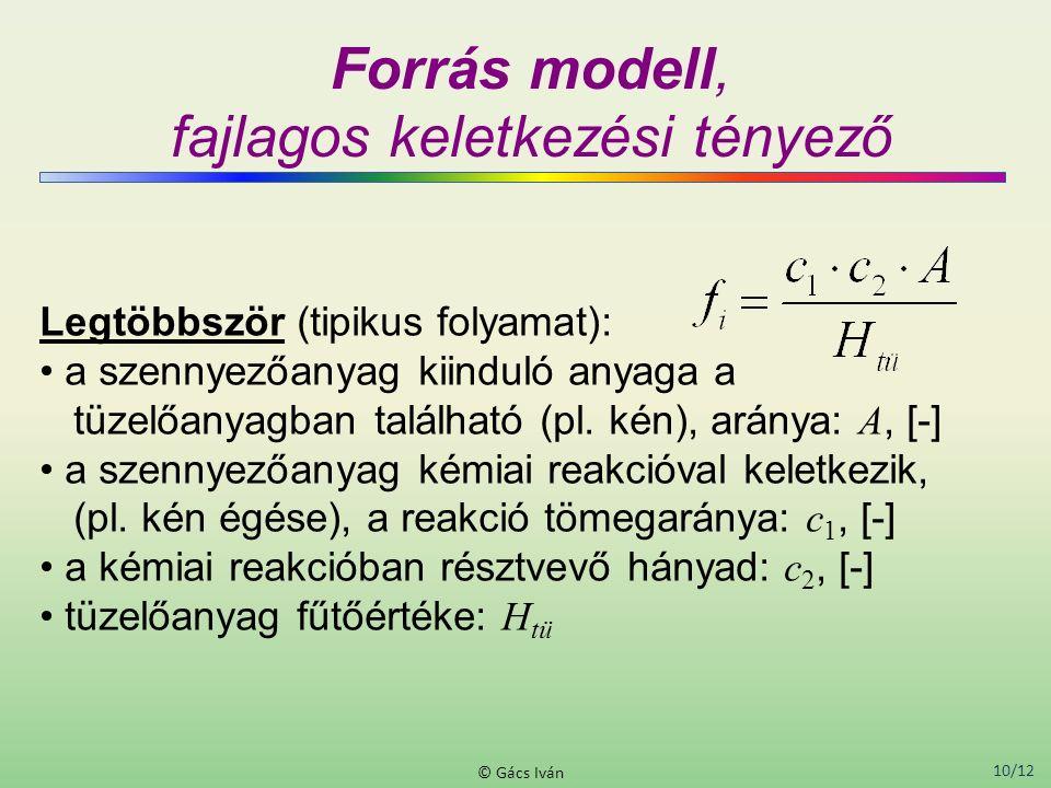 10/12 © Gács Iván Forrás modell, fajlagos keletkezési tényező Legtöbbször (tipikus folyamat): a szennyezőanyag kiinduló anyaga a tüzelőanyagban találh