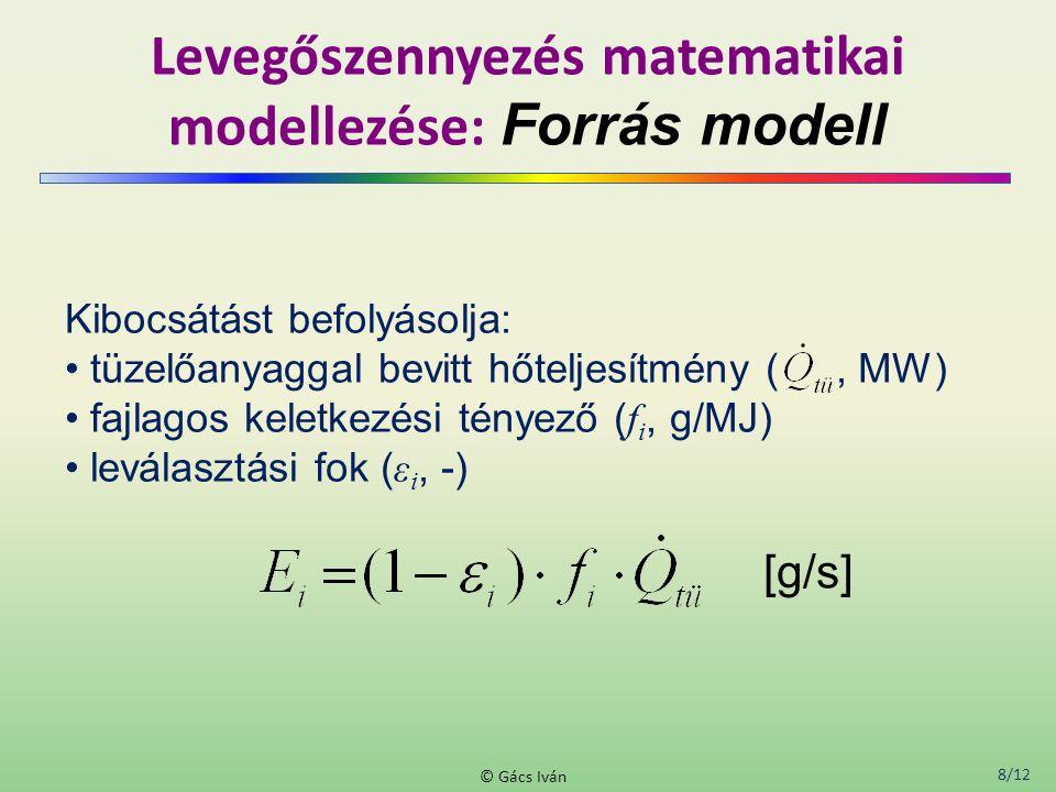 8/12 © Gács Iván Levegőszennyezés matematikai modellezése: Forrás modell Kibocsátást befolyásolja: tüzelőanyaggal bevitt hőteljesítmény (, MW) fajlagos keletkezési tényező ( f i, g/MJ) leválasztási fok ( ε i, -) [g/s]