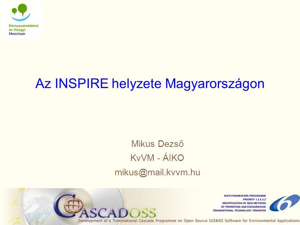 Az INSPIRE helyzete Magyarországon Mikus Dezső KvVM - ÁIKO mikus@mail.kvvm.hu