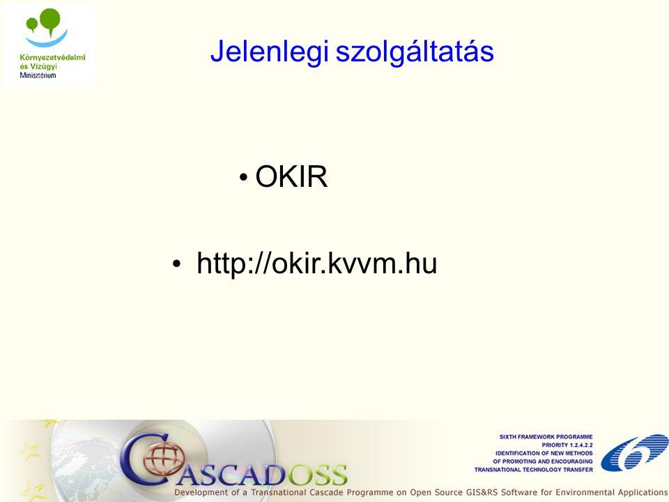 Jelenlegi szolgáltatás OKIR http://okir.kvvm.hu