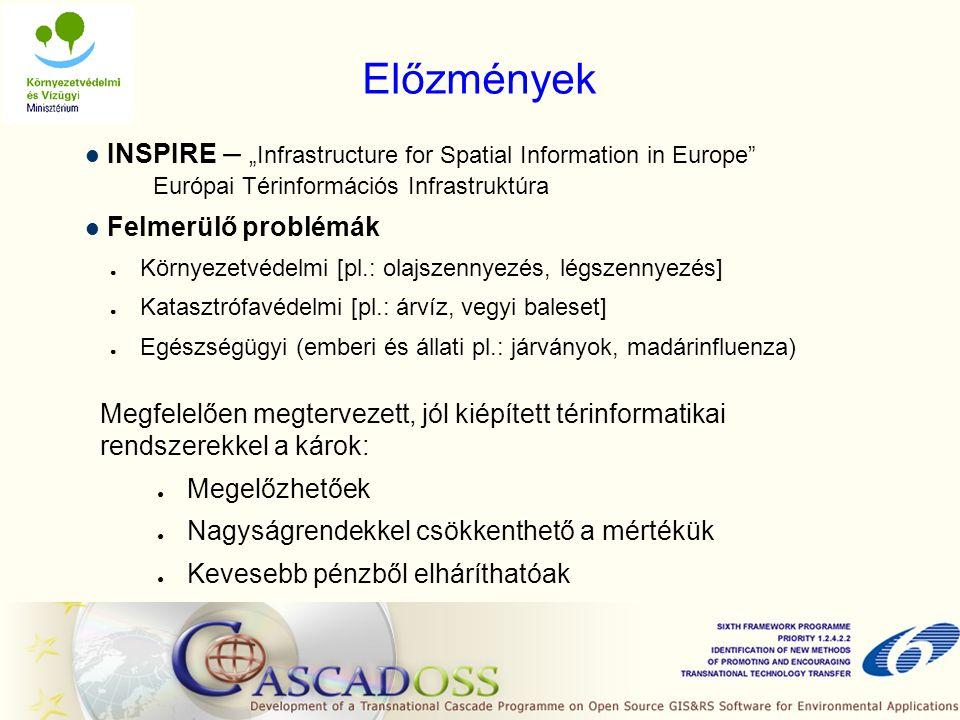"""Előzmények INSPIRE – """"Infrastructure for Spatial Information in Europe Európai Térinformációs Infrastruktúra Felmerülő problémák ● Környezetvédelmi [pl.: olajszennyezés, légszennyezés] ● Katasztrófavédelmi [pl.: árvíz, vegyi baleset] ● Egészségügyi (emberi és állati pl.: járványok, madárinfluenza) Megfelelően megtervezett, jól kiépített térinformatikai rendszerekkel a károk: ● Megelőzhetőek ● Nagyságrendekkel csökkenthető a mértékük ● Kevesebb pénzből elháríthatóak"""