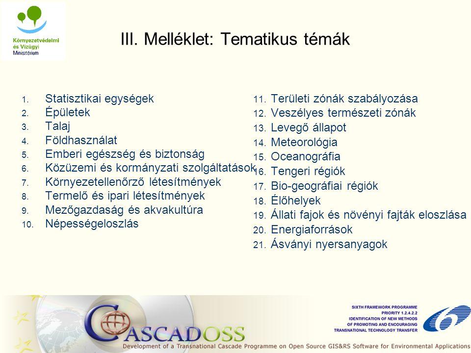 III. Melléklet: Tematikus témák 1. Statisztikai egységek 2.