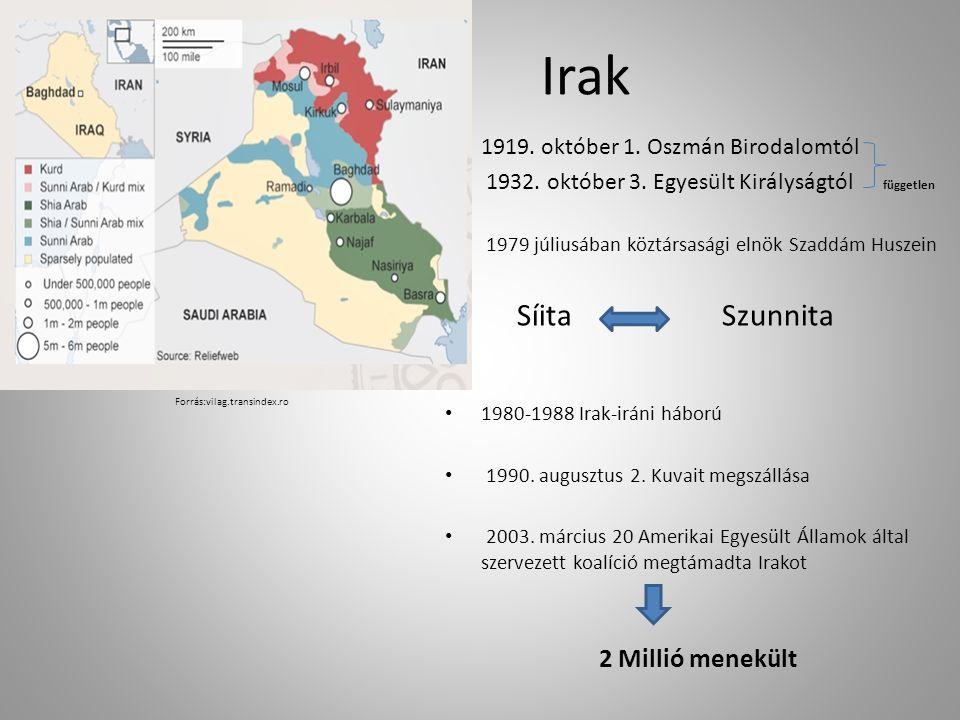 Irak 1919.október 1. Oszmán Birodalomtól 1932. október 3.