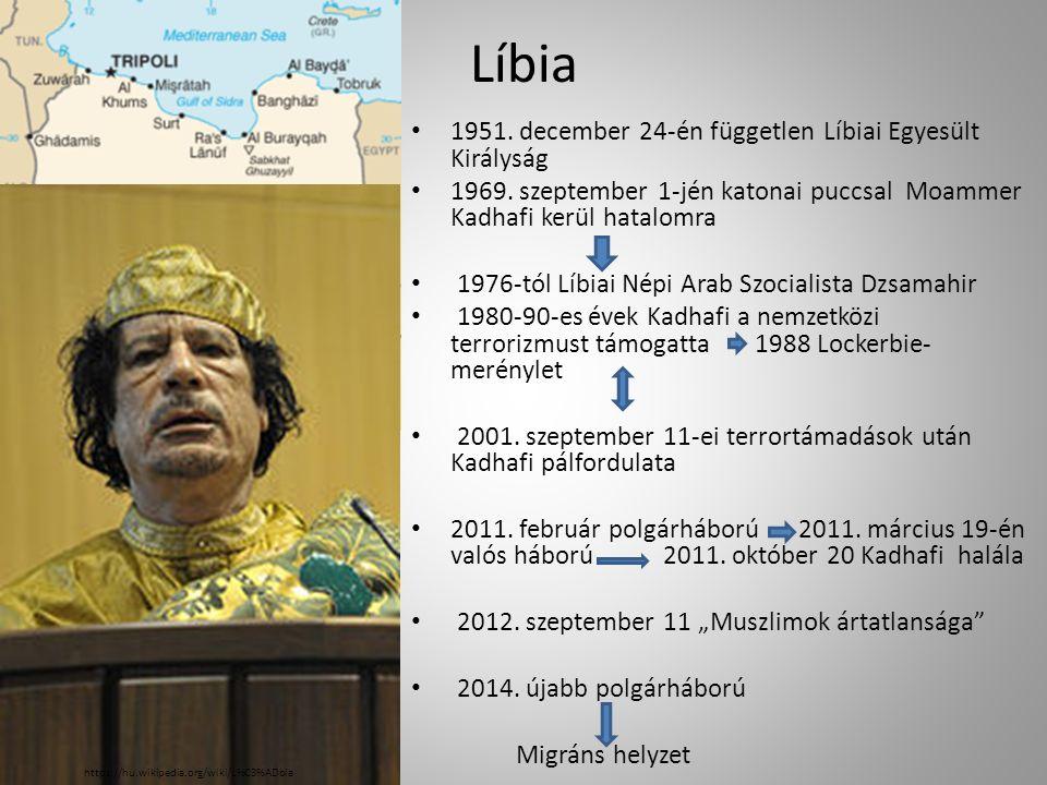 Líbia 1951.december 24-én független Líbiai Egyesült Királyság 1969.