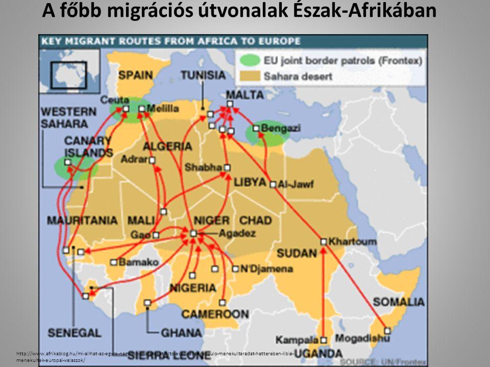 A főbb migrációs útvonalak Észak-Afrikában http://www.afrikablog.hu/mi-allhat-az-egyre-nagyobb-mereteket-olto-europaba-iranyulo-menekultaradat-hattereben-libiai- menekultek-europai-valaszok/