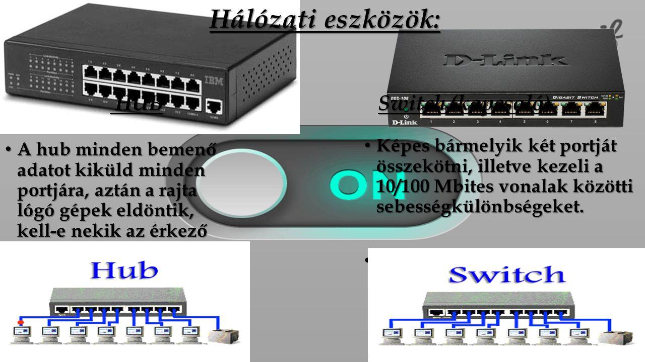 Hálózati eszközök: HUB HUB A hub minden bemenő adatot kiküld minden portjára, aztán a rajta lógó gépek eldöntik, kell-e nekik az érkező adat, vagy sem.