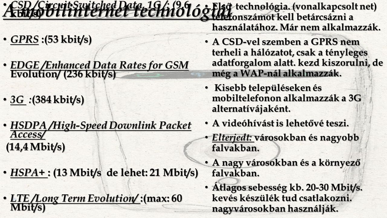 A mobilinternet technológiái CSD /Circuit Switched Data, 1G /: ( 9,6 kbit/s) CSD /Circuit Switched Data, 1G /: ( 9,6 kbit/s) GPRS :(53 kbit/s) GPRS :(