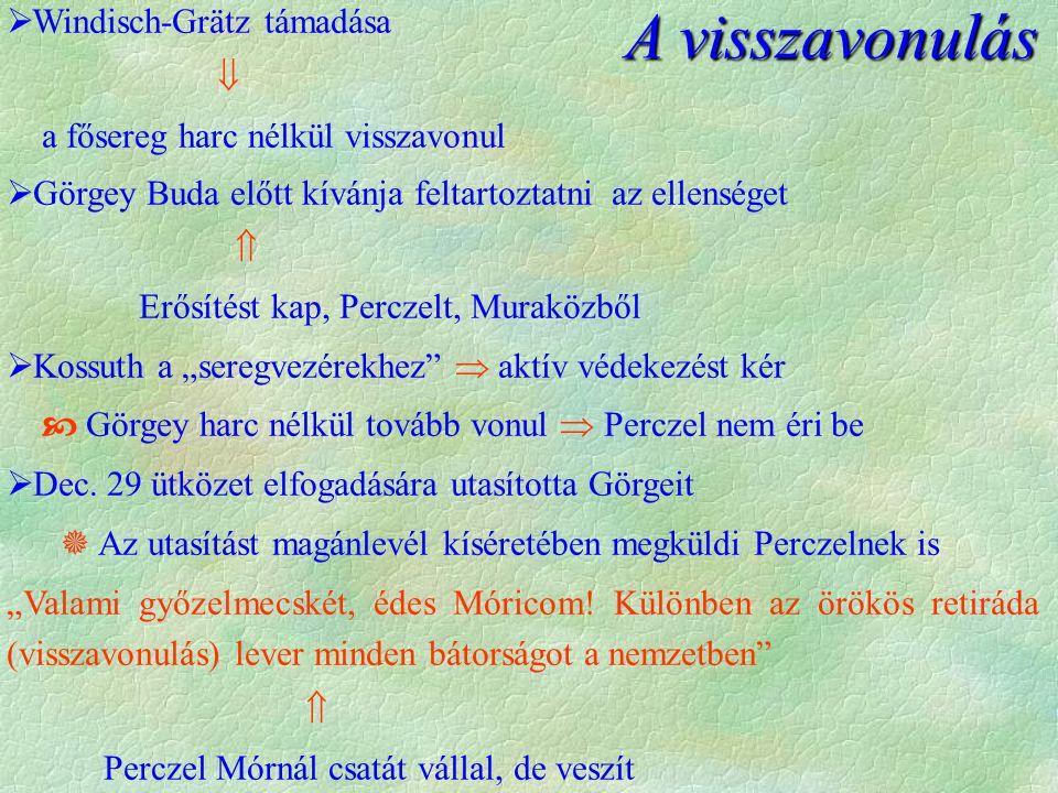 """ Windisch-Grätz támadása  a fősereg harc nélkül visszavonul  Görgey Buda előtt kívánja feltartoztatni az ellenséget  Erősítést kap, Perczelt, Muraközből  Kossuth a """"seregvezérekhez  aktív védekezést kér  Görgey harc nélkül tovább vonul  Perczel nem éri be  Dec."""