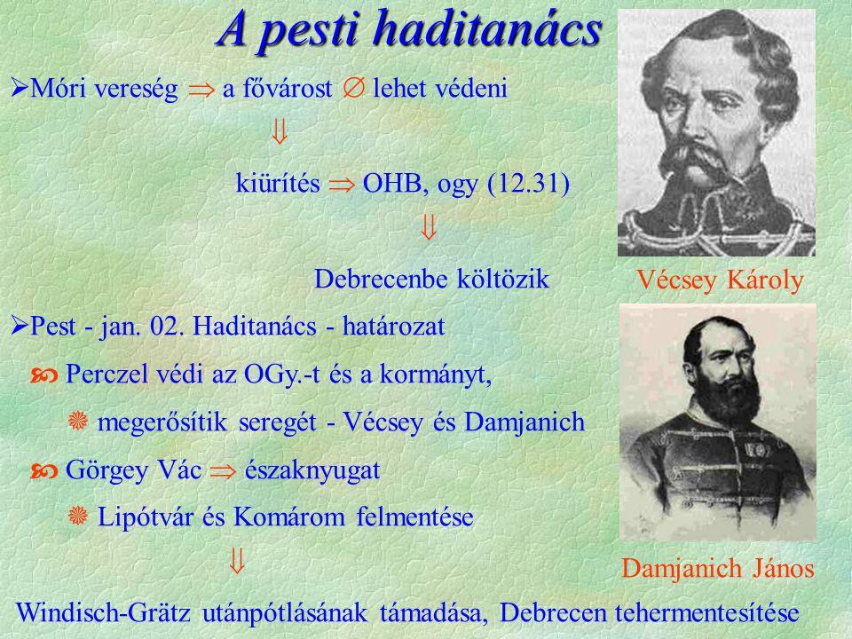  Móri vereség  a fővárost  lehet védeni  kiürítés  OHB, ogy (12.31)  Debrecenbe költözik  Pest - jan. 02. Haditanács - határozat  Perczel védi