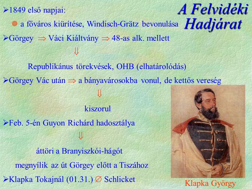 A Felvidéki Hadjárat  1849 első napjai:  a főváros kiürítése, Windisch-Grätz bevonulása  Görgey  Váci Kiáltvány  48-as alk.