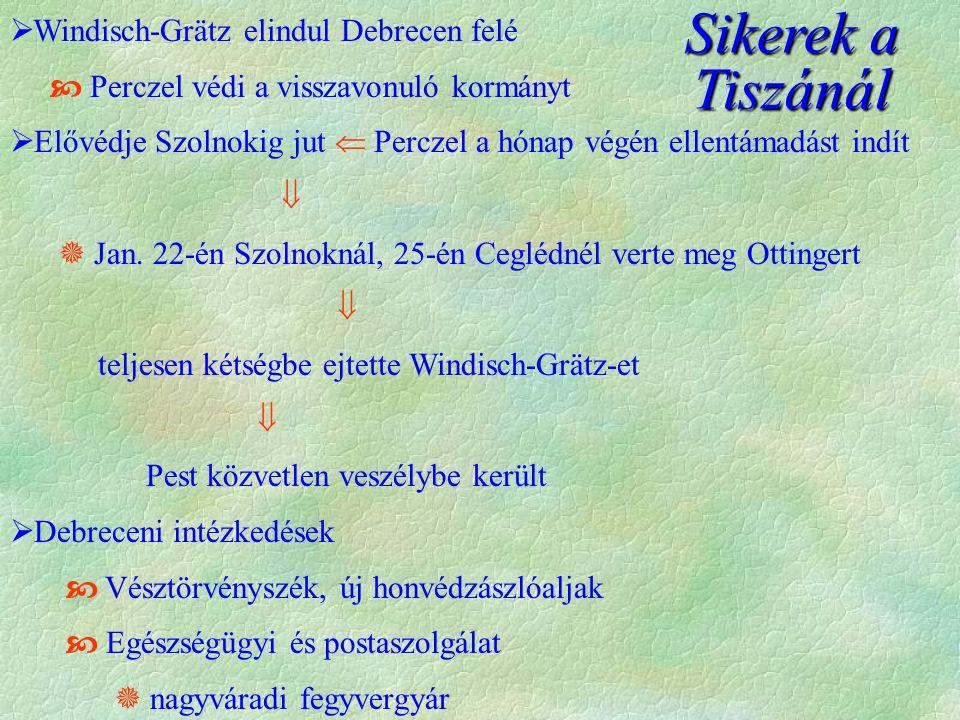  Windisch-Grätz elindul Debrecen felé  Perczel védi a visszavonuló kormányt  Elővédje Szolnokig jut  Perczel a hónap végén ellentámadást indít  