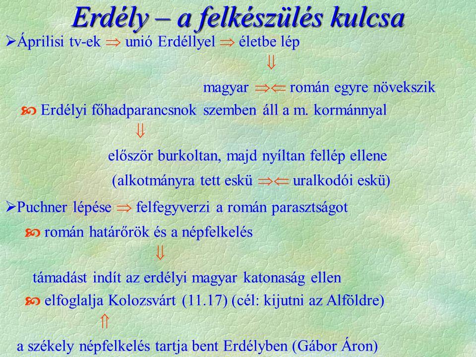  Áprilisi tv-ek  unió Erdéllyel  életbe lép  magyar  román egyre növekszik  Erdélyi főhadparancsnok szemben áll a m.
