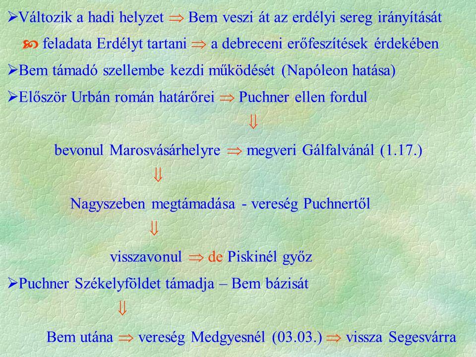 Változik a hadi helyzet  Bem veszi át az erdélyi sereg irányítását  feladata Erdélyt tartani  a debreceni erőfeszítések érdekében  Bem támadó szellembe kezdi működését (Napóleon hatása)  Először Urbán román határőrei  Puchner ellen fordul  bevonul Marosvásárhelyre  megveri Gálfalvánál (1.17.)  Nagyszeben megtámadása - vereség Puchnertől  visszavonul  de Piskinél győz  Puchner Székelyföldet támadja – Bem bázisát  Bem utána  vereség Medgyesnél (03.03.)  vissza Segesvárra