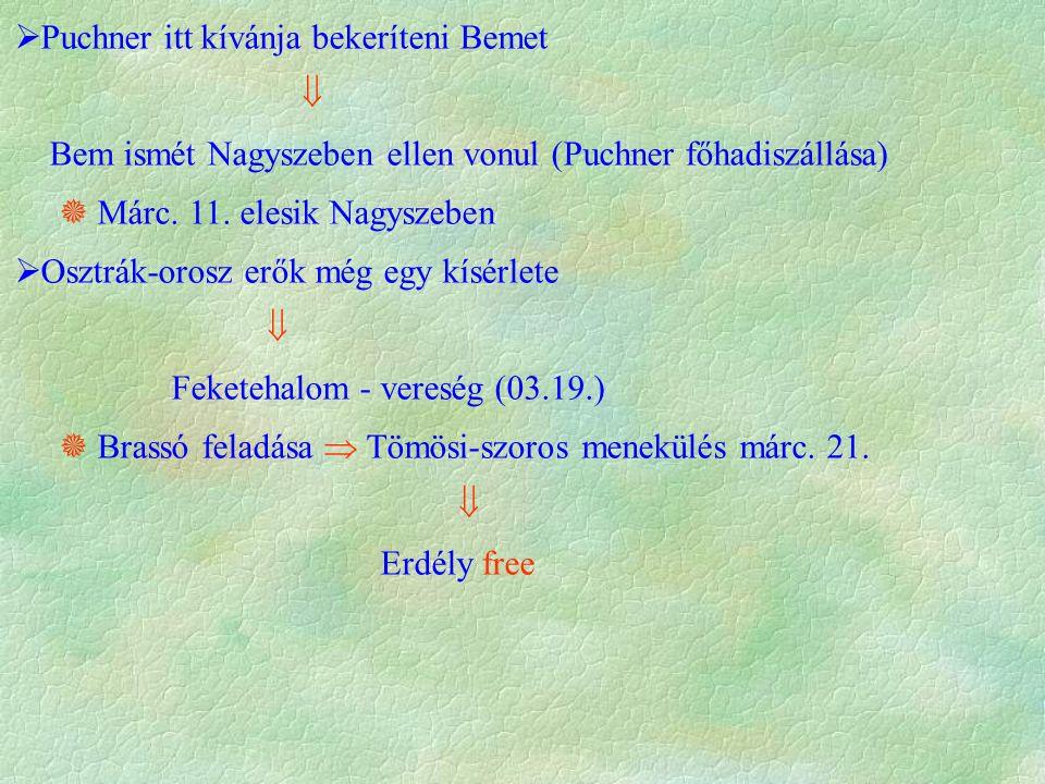  Puchner itt kívánja bekeríteni Bemet  Bem ismét Nagyszeben ellen vonul (Puchner főhadiszállása)  Márc. 11. elesik Nagyszeben  Osztrák-orosz erők