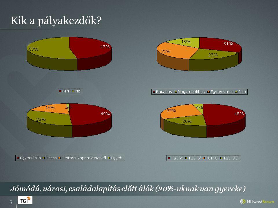 Kik a pályakezdők 5 Jómódú, városi, családalapítás előtt álók (20%-uknak van gyereke)