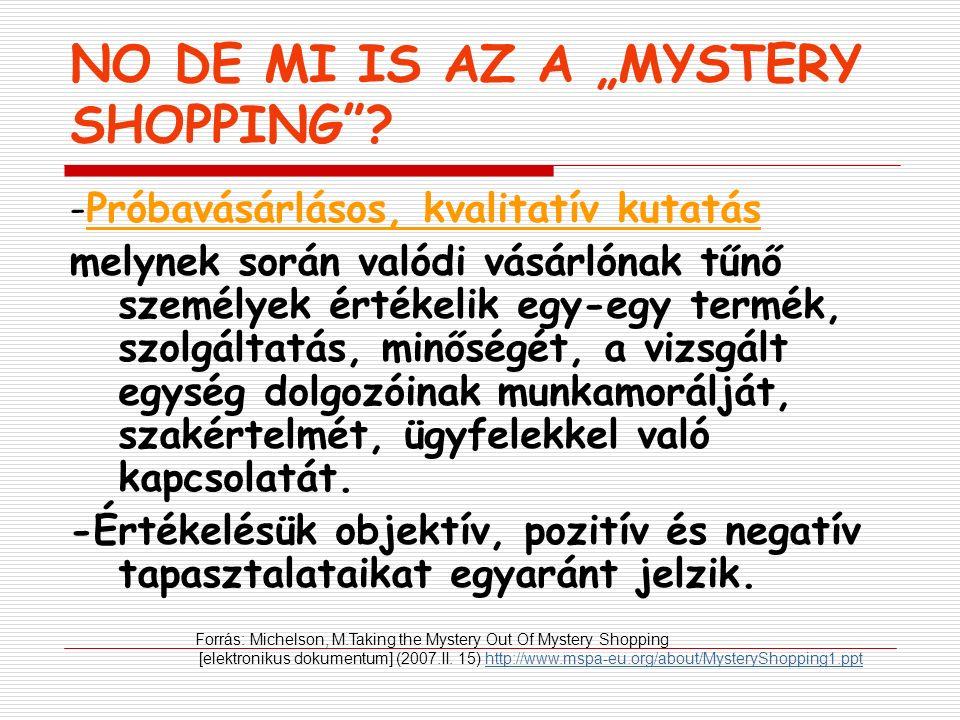 """EGYÉB ELNEVEZÉSEK  """" Mystery call  Titokzatos vendég  Titokzatos vásárló/ügyfél/olvasó  """"Anonymus Audit  Próbavásárlás"""