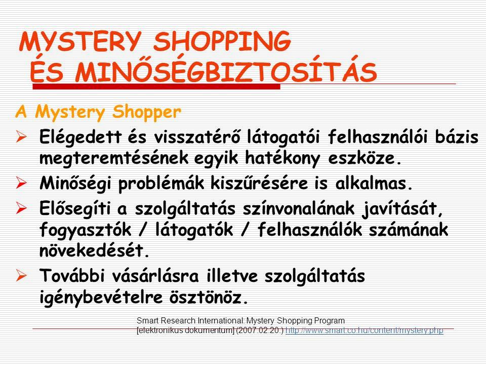 MYSTERY SHOPPING ÉS MINŐSÉGBIZTOSÍTÁS A Mystery Shopper  Elégedett és visszatérő látogatói felhasználói bázis megteremtésének egyik hatékony eszköze.