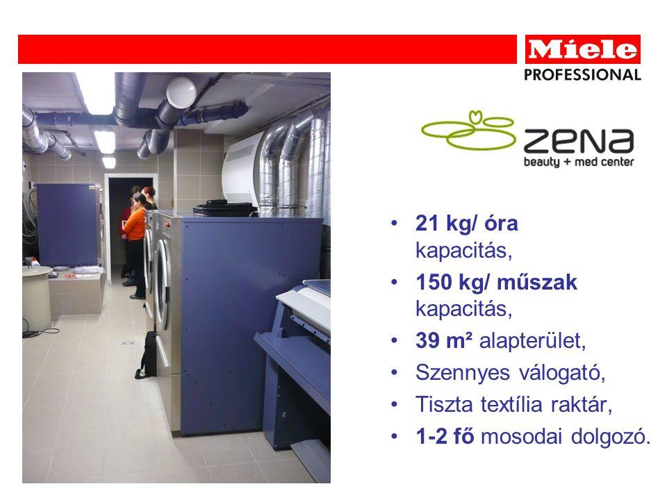 21 kg/ óra kapacitás, 150 kg/ műszak kapacitás, 39 m² alapterület, Szennyes válogató, Tiszta textília raktár, 1-2 fő mosodai dolgozó.