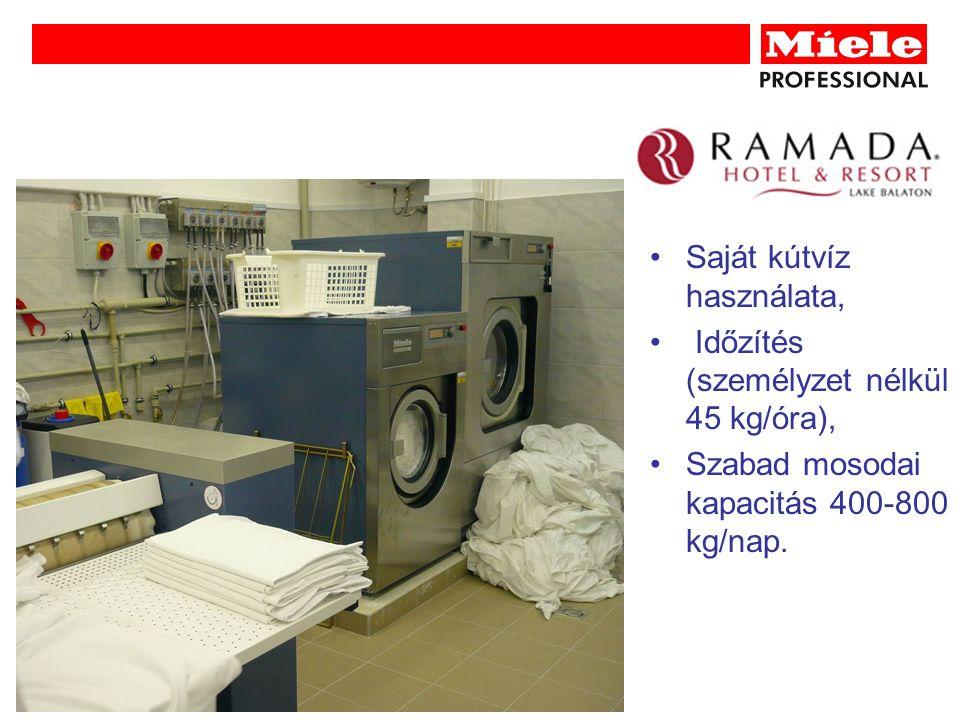 Saját kútvíz használata, Időzítés (személyzet nélkül 45 kg/óra), Szabad mosodai kapacitás 400-800 kg/nap.