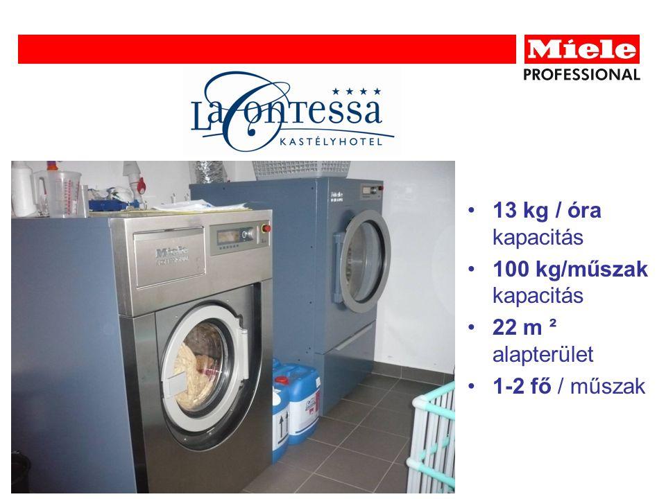 13 kg / óra kapacitás 100 kg/műszak kapacitás 22 m ² alapterület 1-2 fő / műszak