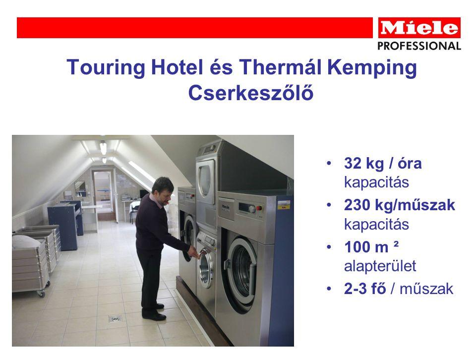 Touring Hotel és Thermál Kemping Cserkeszőlő 32 kg / óra kapacitás 230 kg/műszak kapacitás 100 m ² alapterület 2-3 fő / műszak