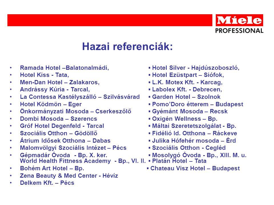 Ramada Hotel –Balatonalmádi, ▪ Hotel Silver - Hajdúszoboszló, Hotel Kiss - Tata, ▪ Hotel Ezüstpart – Siófok, Men-Dan Hotel – Zalakaros, ▪ L.K.