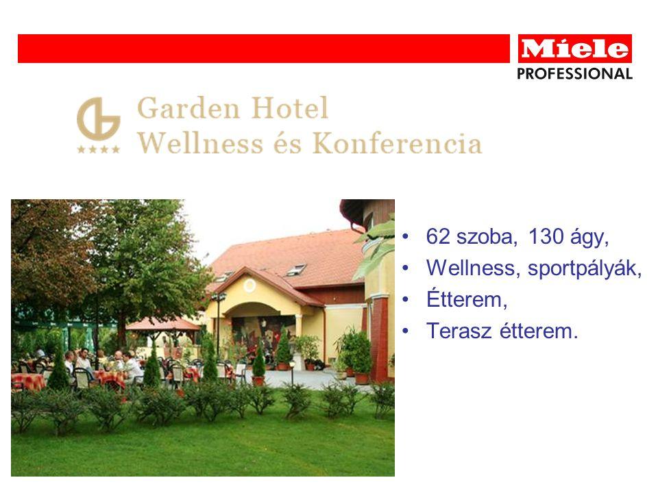 62 szoba, 130 ágy, Wellness, sportpályák, Étterem, Terasz étterem.