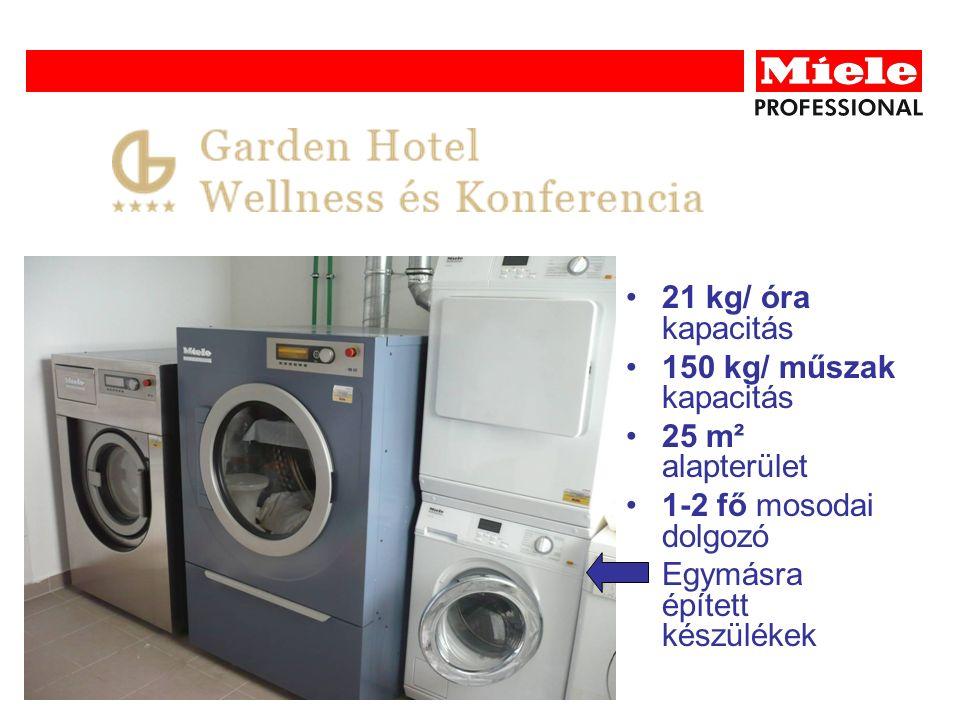 21 kg/ óra kapacitás 150 kg/ műszak kapacitás 25 m² alapterület 1-2 fő mosodai dolgozó Egymásra épített készülékek