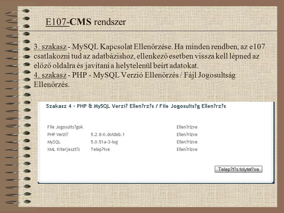 3.szakasz - MySQL Kapcsolat Ellenőrzése.