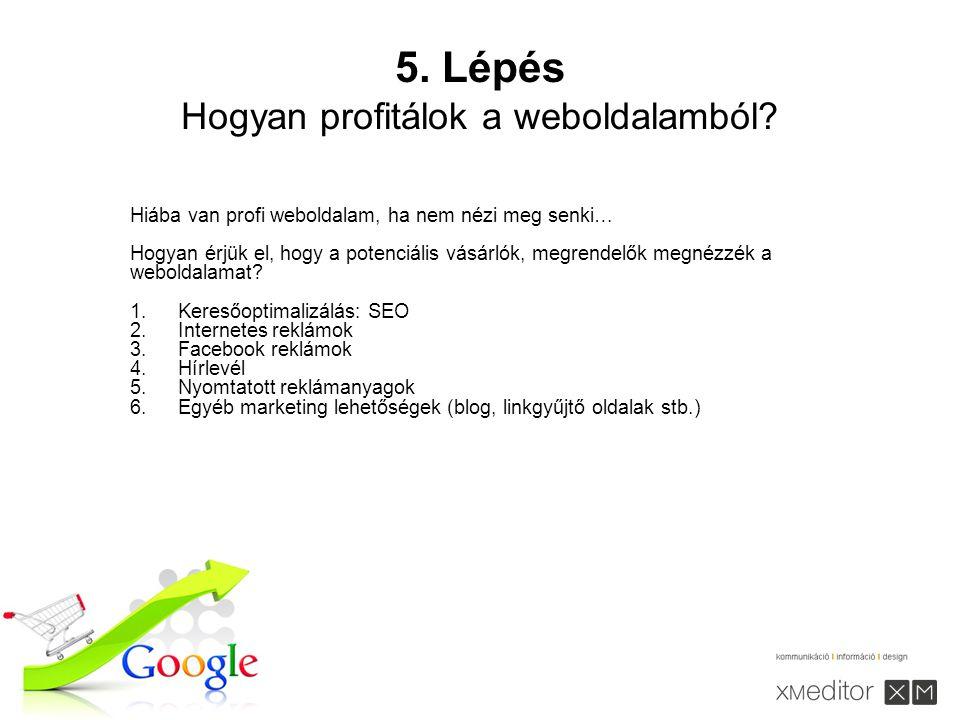 5. Lépés Hogyan profitálok a weboldalamból.