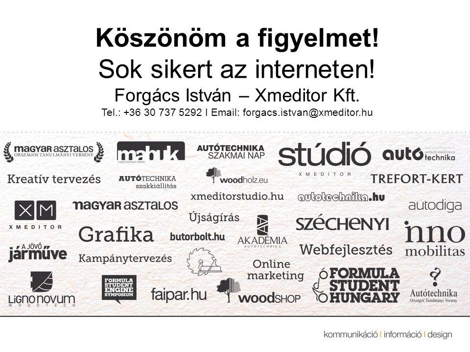 Köszönöm a figyelmet. Sok sikert az interneten. Forgács István – Xmeditor Kft.