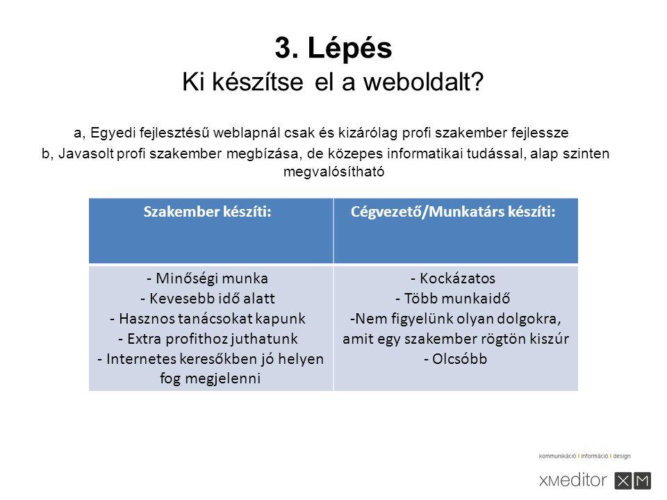 3. Lépés Ki készítse el a weboldalt.