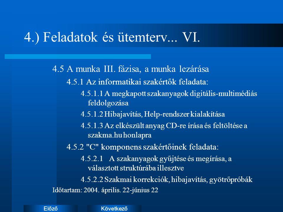 KövetkezőElőző 4.) Feladatok és ütemterv... VI. 4.5 A munka III.