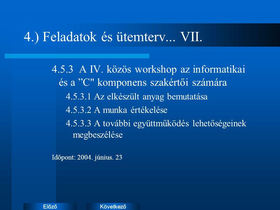 KövetkezőElőző 4.) Feladatok és ütemterv... VII. 4.5.3 A IV.