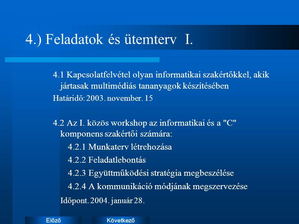 KövetkezőElőző 4.) Feladatok és ütemterv I.
