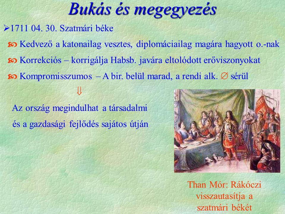  1711 04. 30. Szatmári béke  Kedvező a katonailag vesztes, diplomáciailag magára hagyott o.-nak  Korrekciós – korrigálja Habsb. javára eltolódott e