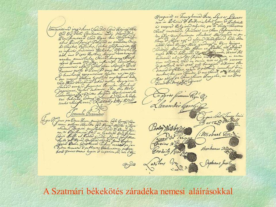 A Szatmári békekötés záradéka nemesi aláírásokkal