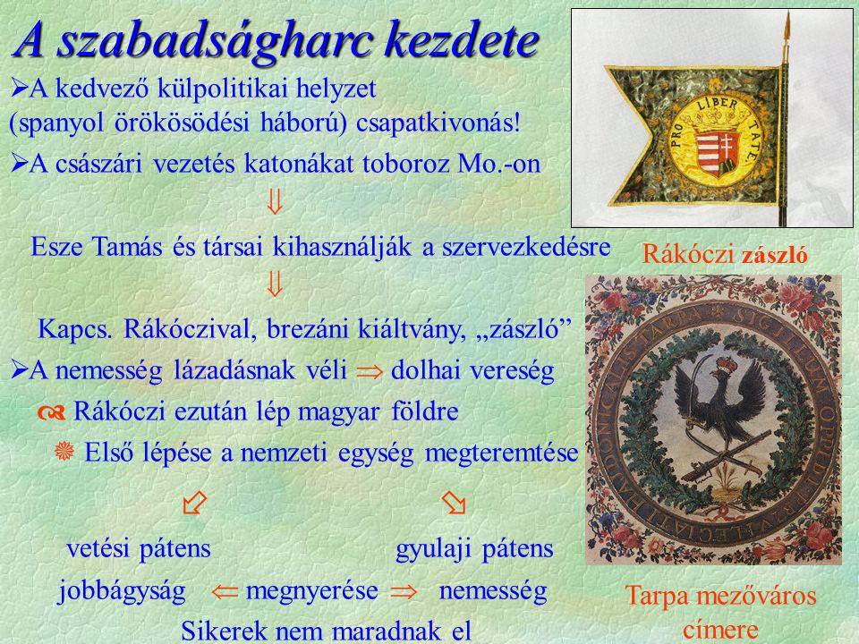 Első sikerek  1703 Felvidék keleti része, Tiszántúl  1703 év vége Felvidék nagy része, Duna-Tisza köze  1704 év vége Károlyi vezetésével átkel Morván, Bécs alá jut, hogy egyesüljön a franciákkal  1704 Erdély, 1705 Dunántúl  A sikerek a könnyűlovas, portyázó taktikának köszönhető  A külpolitikai helyzet változása hátrányosan  A franciák höschstädti veresége  Több katona a magyar hadszíntéren  cél a tisztes kiegyezés  A nagy ütközetek elvesznek:  1704, Nagyszombat; 1705 Zsibó