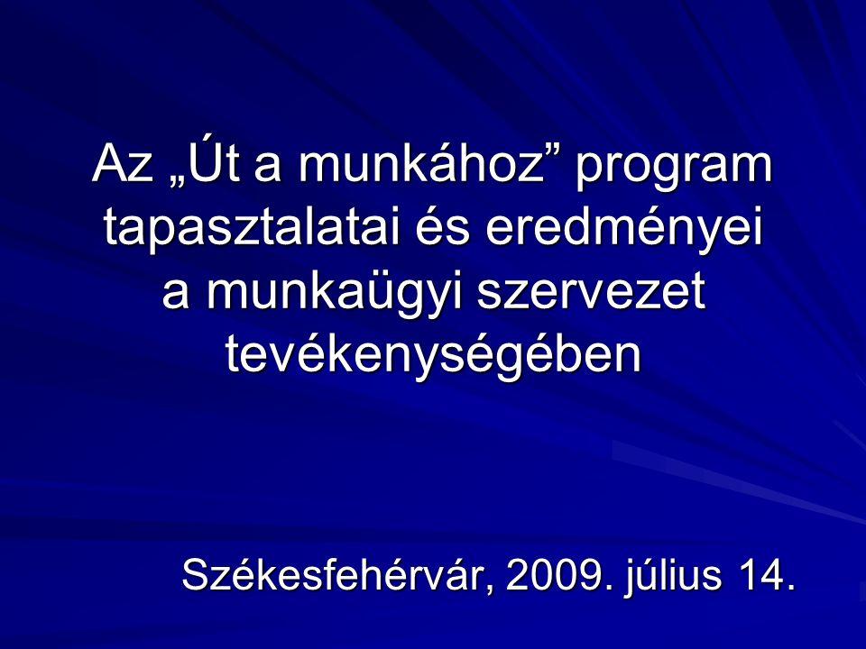 """Az """"Út a munkához"""" program tapasztalatai és eredményei a munkaügyi szervezet tevékenységében Székesfehérvár, 2009. július 14."""