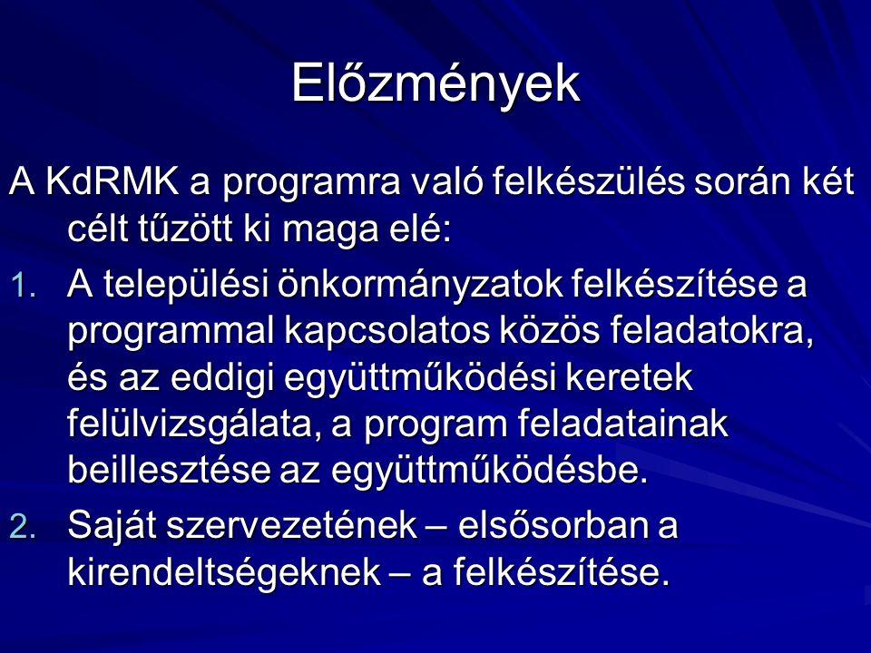 Előzmények A KdRMK a programra való felkészülés során két célt tűzött ki maga elé: 1. A települési önkormányzatok felkészítése a programmal kapcsolato