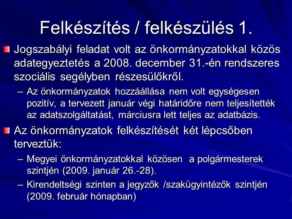 Felkészítés / felkészülés 1. Jogszabályi feladat volt az önkormányzatokkal közös adategyeztetés a 2008. december 31.-én rendszeres szociális segélyben