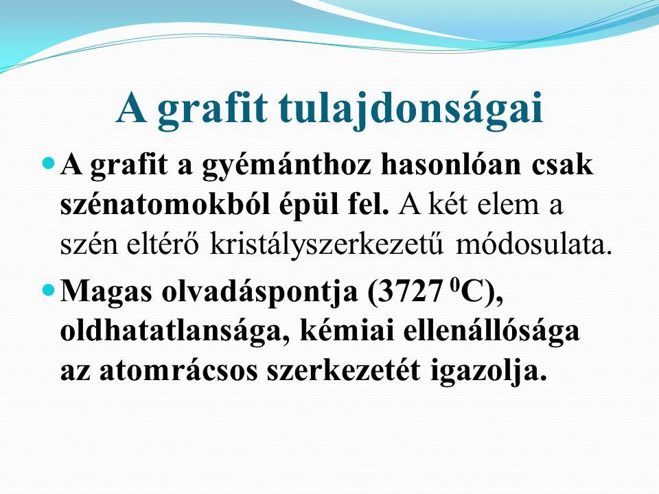 A grafit tulajdonságai A grafit a gyémánthoz hasonlóan csak szénatomokból épül fel.
